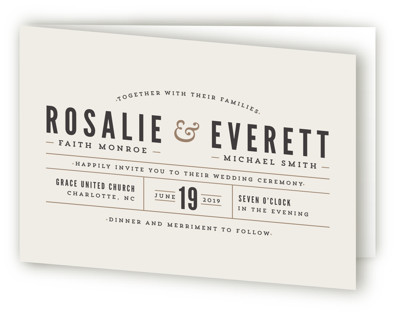 Classic Type Four-Panel Wedding Invitations