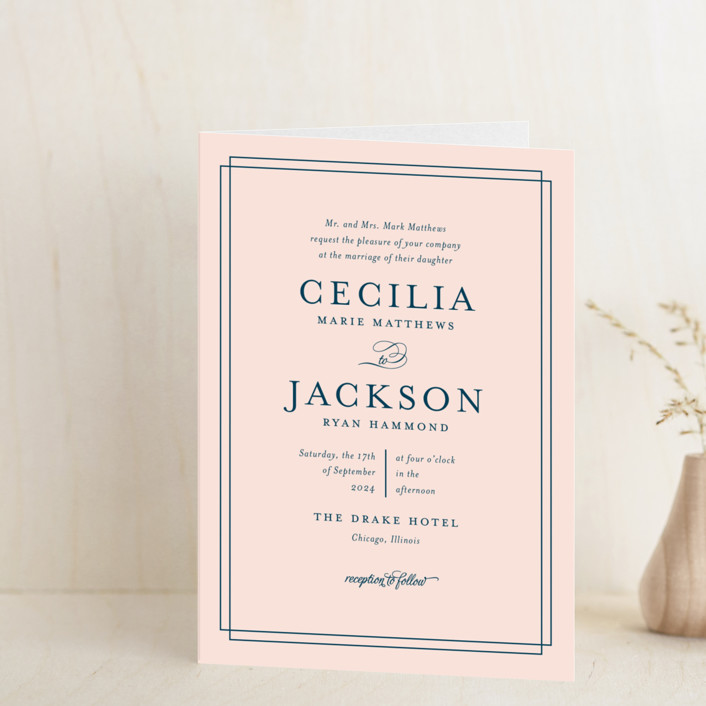 """Chic Gala"" - Classical Four-panel Wedding Invitations in Cotton Candy by Kimberly FitzSimons."