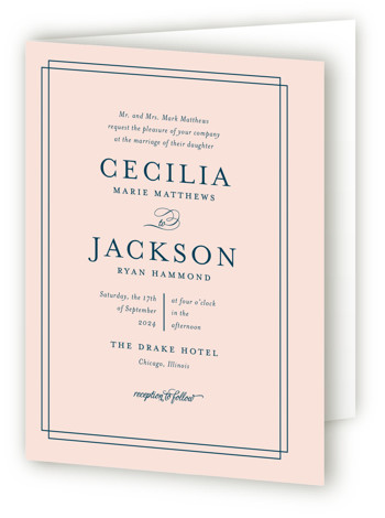 This is a portrait bold and typographic, classical, preppy, pink Savvy Wedding Invitations by Kimberly FitzSimons called Chic Gala with Standard printing on Signature in Four Panel Fold Over (Message Inside) format. A traditional wedding invitation with clean typography that ...