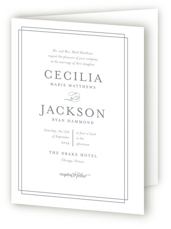 This is a portrait bold and typographic, classical, preppy, grey Savvy Wedding Invitations by Kimberly FitzSimons called Chic Gala with Standard printing on Signature in Four Panel Fold Over (Message Inside) format. A traditional wedding invitation with clean typography that ...