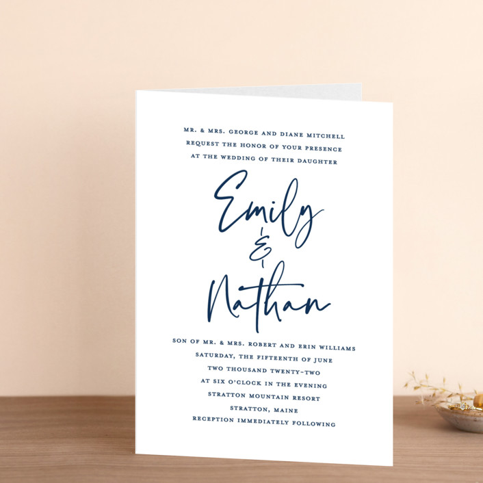 """""""Semi Formal"""" - Four-panel Wedding Invitations in Navy by Paper Dahlia."""