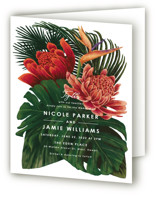 This is a green four panel wedding invitation by Elly called Tropical Bouquet with standard printing on signature in four-panel.