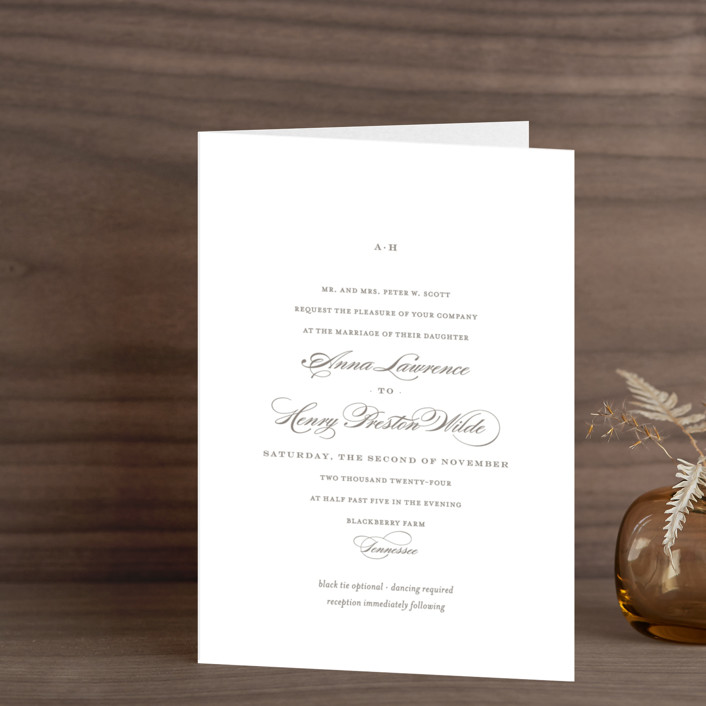 """Field"" - Simple, Elegant Four-panel Wedding Invitations in Ash by Toast & Laurel."