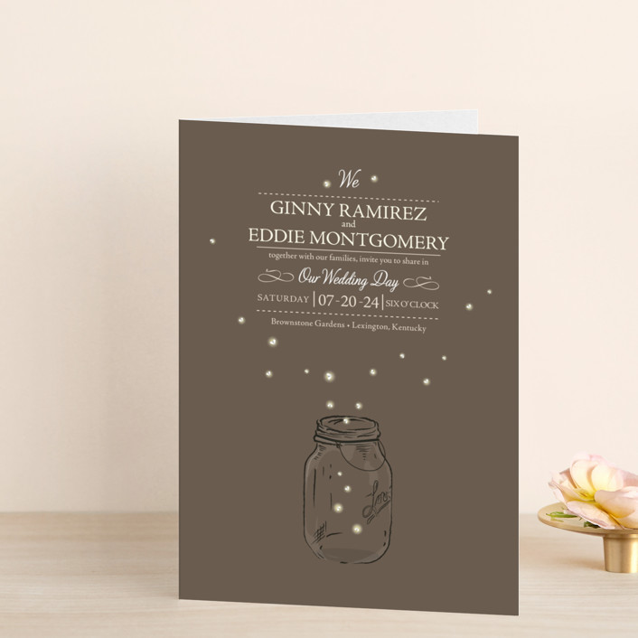 """Fireflies"" - Rustic, Hand Drawn Four-panel Wedding Invitations in Zuni Brown by cadence paige design."