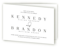 This is a black and white four panel wedding invitation by Jessica Williams called The Space Between with standard printing on signature in four-panel.