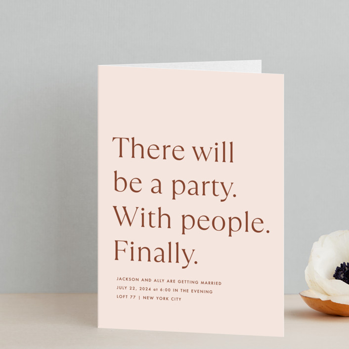 """""""There Will Be a Party"""" - Funny Four-panel Wedding Invitations in Terra Cotta by Amy Payne."""