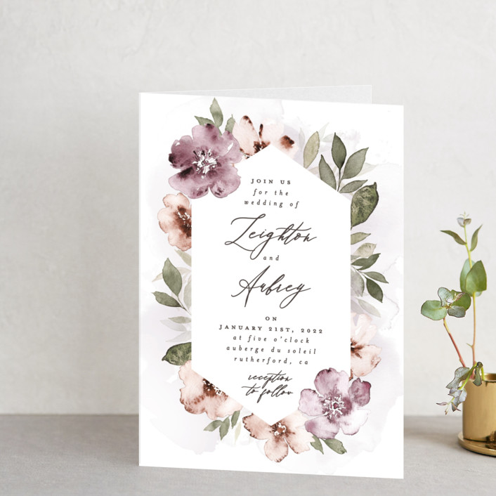 """""""Fancifully"""" - Four-panel Wedding Invitations in Dust Mauve by Everett Paper Goods."""