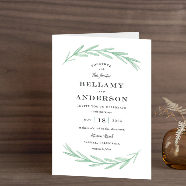 """""""Painted Leaves"""" - Rustic, Classical Four-panel Wedding Invitations in Evergreen by Olivia Raufman."""