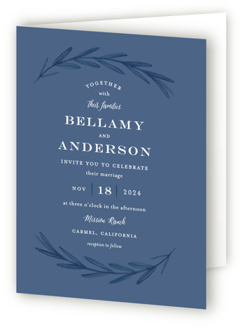 This is a portrait botanical, classical, rustic, blue, ivory, white Savvy Wedding Invitations by Olivia Raufman called Painted Leaves with Standard printing on Signature in Four Panel Fold Over (Message Inside) format. A clean, organic invitation with watercolor leaves and ...