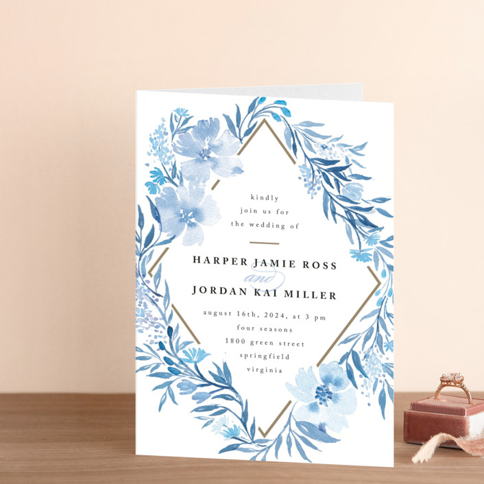 """""""Poetic Blue"""" - Floral & Botanical Four-panel Wedding Invitations in Sky by Qing Ji."""