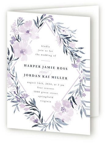 This is a portrait botanical, floral, blue, purple Savvy Wedding Invitations by Qing Ji called Poetic Blue with Standard printing on Signature in Four Panel Fold Over (Message Inside) format. This beautiful and modern design features hand painted watercolor flowers ...
