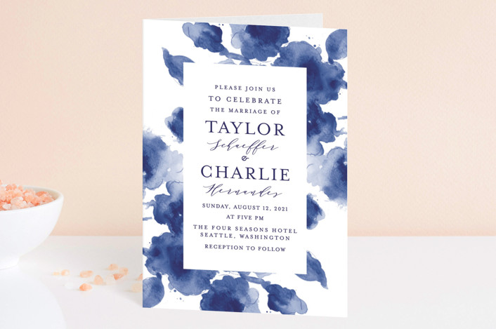 """Cornflower Wedding"" - Four-panel Wedding Invitations in Periwinkle by Chris Griffith."