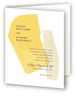 This is a yellow four panel wedding invitation by Ann Gardner called Collage with standard printing on signature in four-panel.
