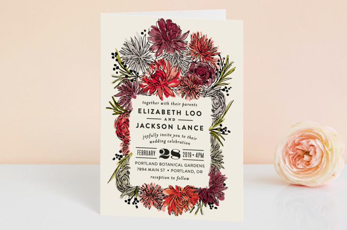 """Dahlia Bouquet"" - Floral & Botanical Four-panel Wedding Invitations in Wine by Alethea and Ruth."