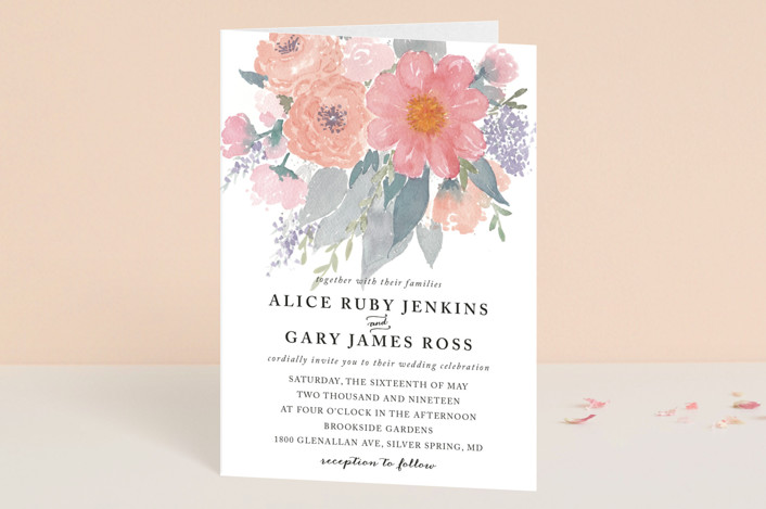 """fresh watercolor floral"" - Floral & Botanical, Hand Drawn Four-panel Wedding Invitations in Peach by Qing Ji."