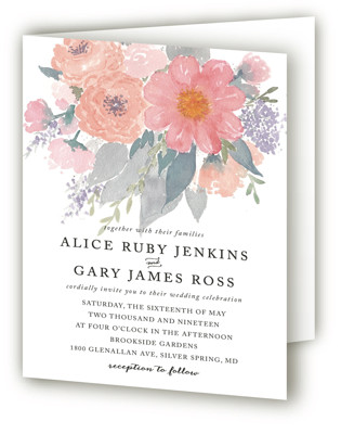 fresh watercolor floral Four-Panel Wedding Invitations
