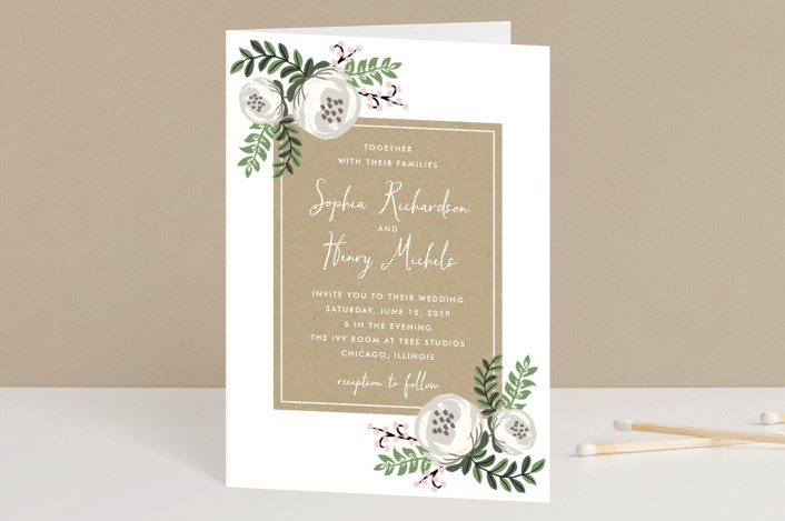 """""""Krafted Florals"""" - Floral & Botanical Four-panel Wedding Invitations in Blush by Lehan Veenker."""