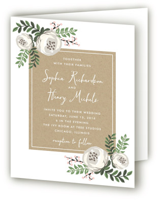 Krafted Florals Four-Panel Wedding Invitations