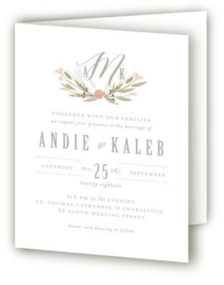 Monogram Floral Four-Panel Wedding Invitations
