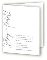 This is a black and white four panel wedding invitation by JoAnn Jinks called printed with standard printing on signature in four-panel.