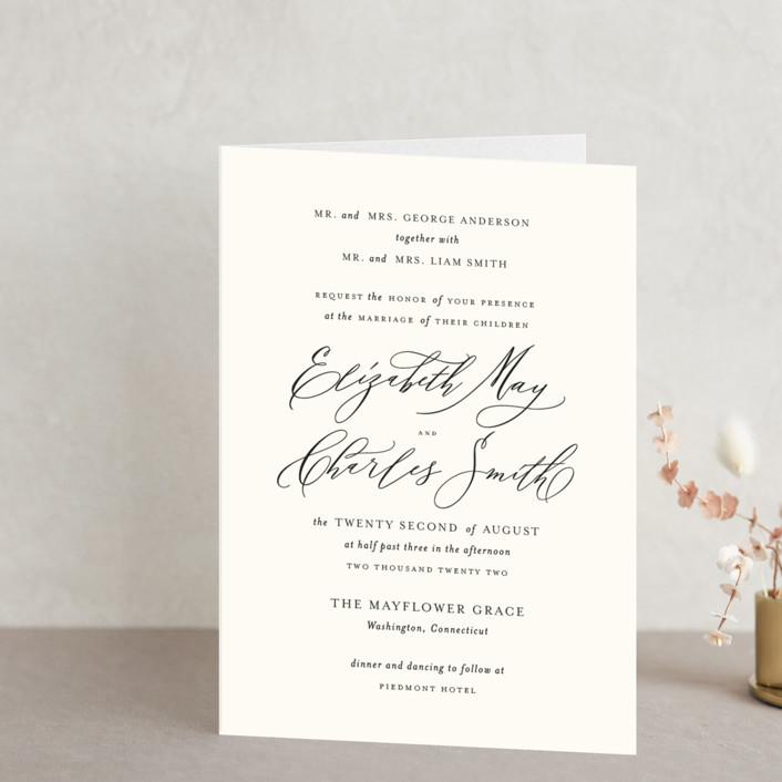 """Elysium"" - Four-panel Wedding Invitations in Linen by Design Lotus."