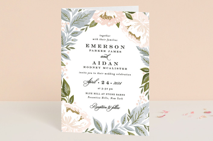 """""""Peony Floral Frame"""" - Four-panel Wedding Invitations in Cornflower by Alethea and Ruth."""