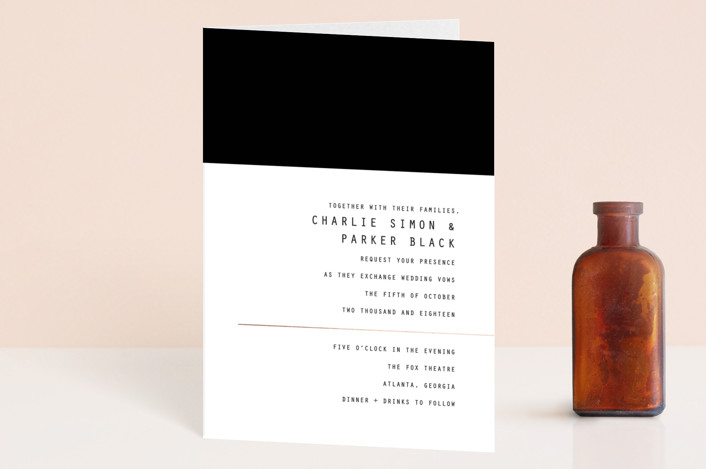 """""""BOLD AS LOVE"""" - Simple, Modern Four-panel Wedding Invitations in Noir by DESIGN X FIVE."""