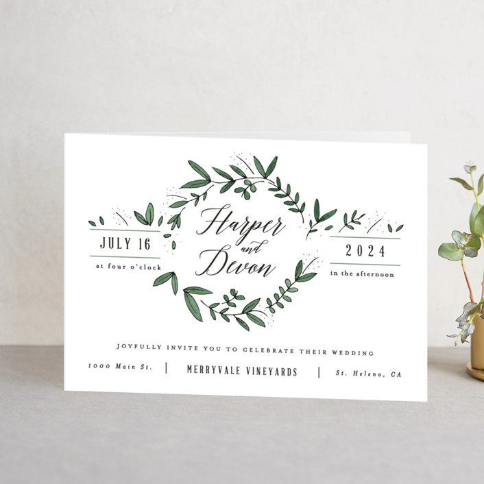 """""""Floral Wreath"""" - Rustic Four-panel Wedding Invitations in Fresh by Kelly Schmidt."""