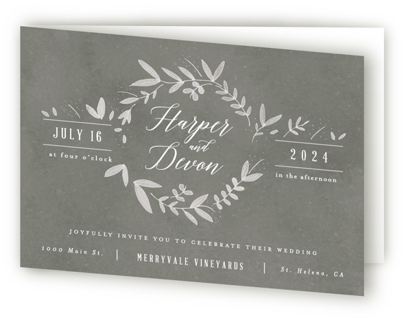 This is a landscape botanical, rustic, grey Savvy Wedding Invitations by Kelly Schmidt called Floral Wreath with Standard printing on Signature in Four Panel Fold Over (Message Inside) format. A botanical border frames calligraphic type in this rustic wedding invitation ...