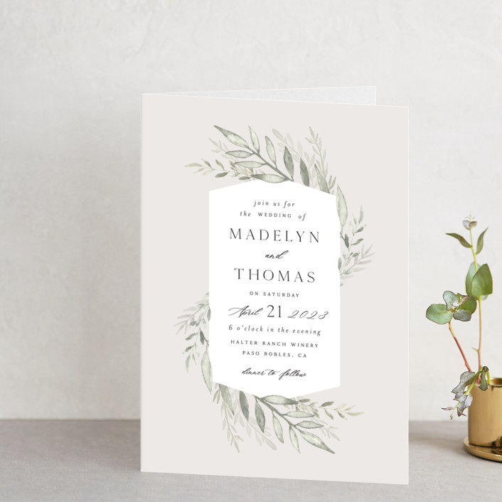 """Sweeping"" - Four-panel Wedding Invitations in Linen by Carolyn Nicks."