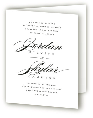 This is a portrait bold and typographic, classic and formal, classical, elegant, formal, simple, simple and minimalist, black and white, black Savvy Wedding Invitations by Lori Wemple called Waltz with Standard printing on Signature in Four Panel Fold Over (Message ...