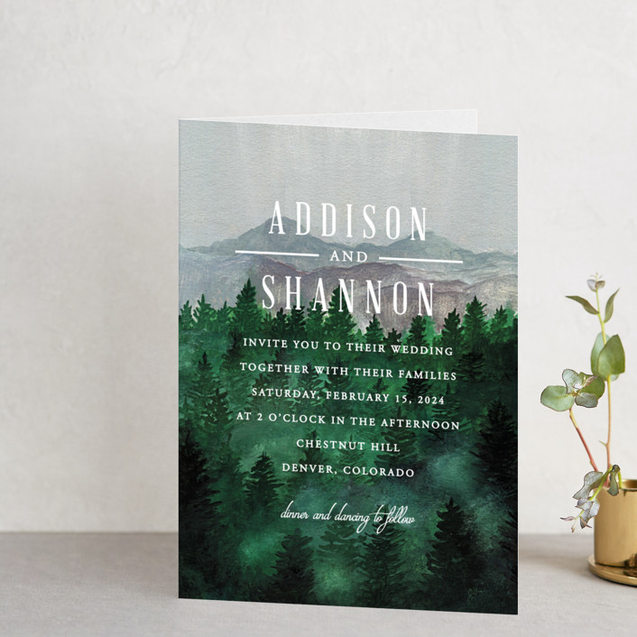 """Adventure Awaits"" - Rustic, Destination Four-panel Wedding Invitations in Smoke by Elly."