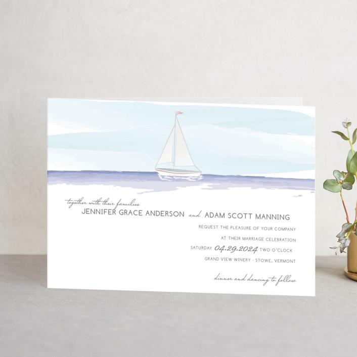 """Set Sail"" - Beach, Destination Four-panel Wedding Invitations in Mediterranean by Sarah Brown."