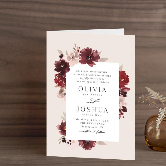 """Emyn"" - Four-panel Wedding Invitations in Burgundy by Itsy Belle Studio."