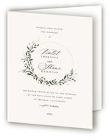 This is a beige four panel wedding invitation by Lori Wemple called Green Wreath with standard printing on signature in four-panel.