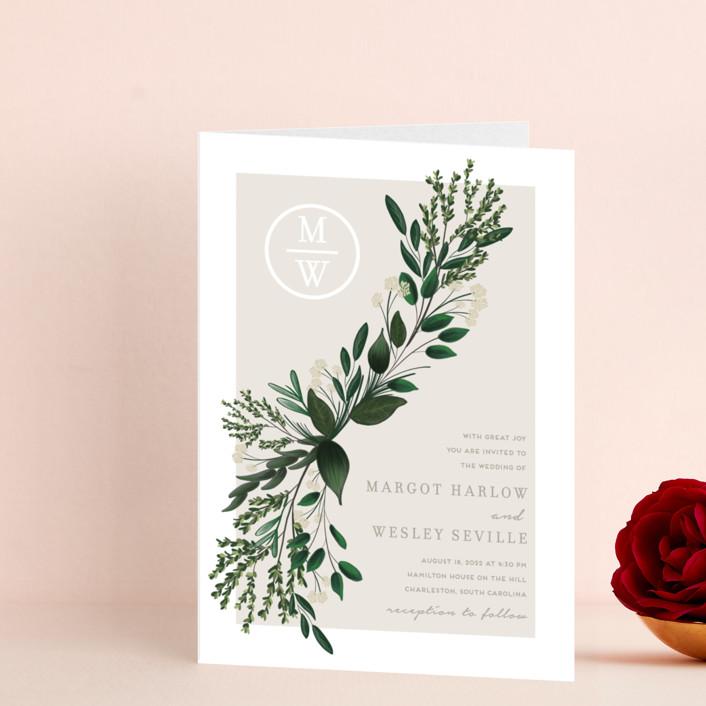 """Watermark"" - Four-panel Wedding Invitations in Cypress by Kaydi Bishop."