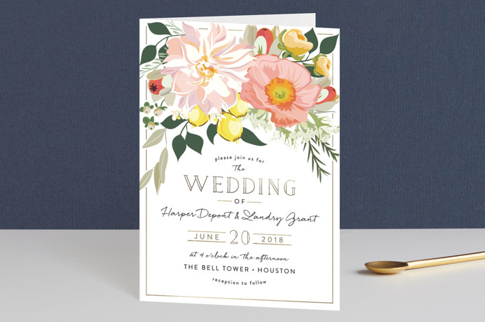 """""""Spring Blooms"""" - Floral & Botanical Four-panel Wedding Invitations in Blush by Susan Moyal."""