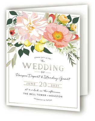Spring Blooms Four-Panel Wedding Invitations