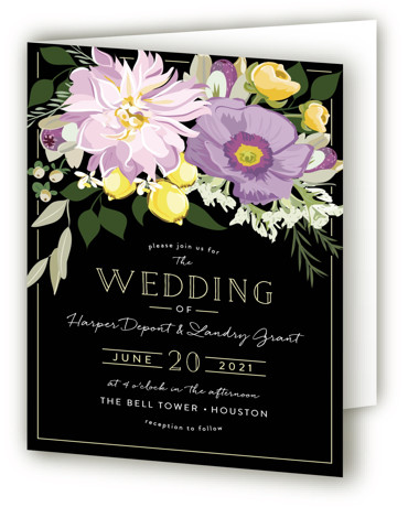 This is a portrait botanical, floral, painterly, black Savvy Wedding Invitations by Susan Moyal called Spring Blooms with Standard printing on Signature in Four Panel Fold Over (Message Inside) format. This wedding invitations features some fresh summer blooms with lemons ...