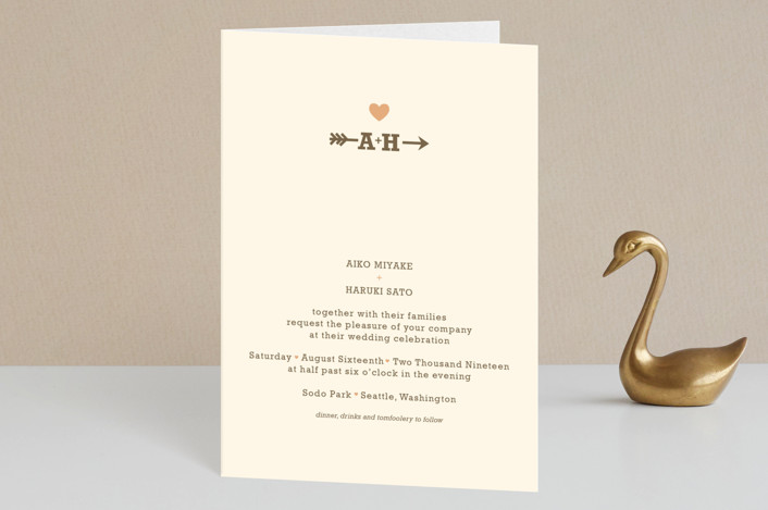 """Love Struck"" - Rustic, Simple Four-panel Wedding Invitations in Pale Salmon by The Social Type."