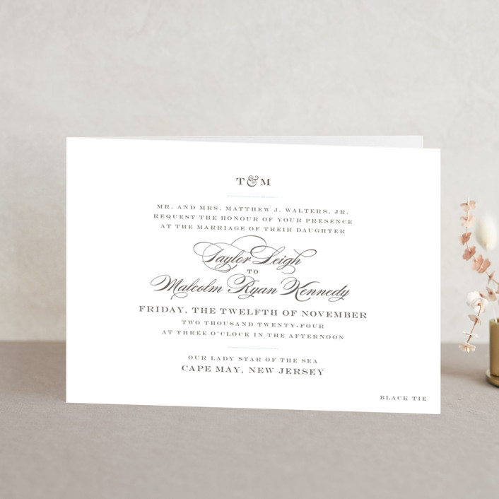 """Charming Go Lightly"" - Monogrammed, Elegant Four-panel Wedding Invitations in Sky Blue by danielleb."