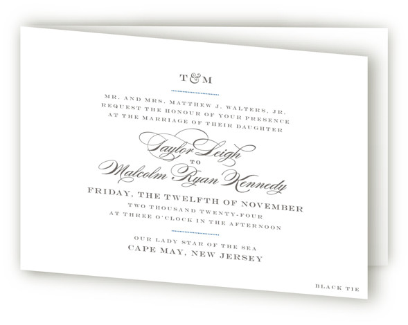 This is a landscape, portrait classic and formal, classical, elegant, formal, monogrammed, simple and minimalist, blue, grey Savvy Wedding Invitations by danielleb called Charming Go Lightly with Standard printing on Signature in Four Panel Fold Over (Message Inside) format.