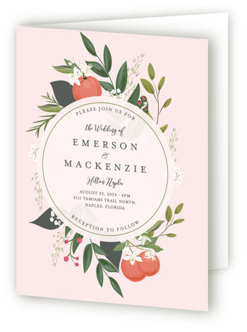 This is a portrait botanical, floral, hand drawn, rustic, pink, green Savvy Wedding Invitations by Susan Moyal called Orange Blossoms with Standard printing on Signature in Four Panel Fold Over (Message Inside) format. This Save the date features some pretty ...