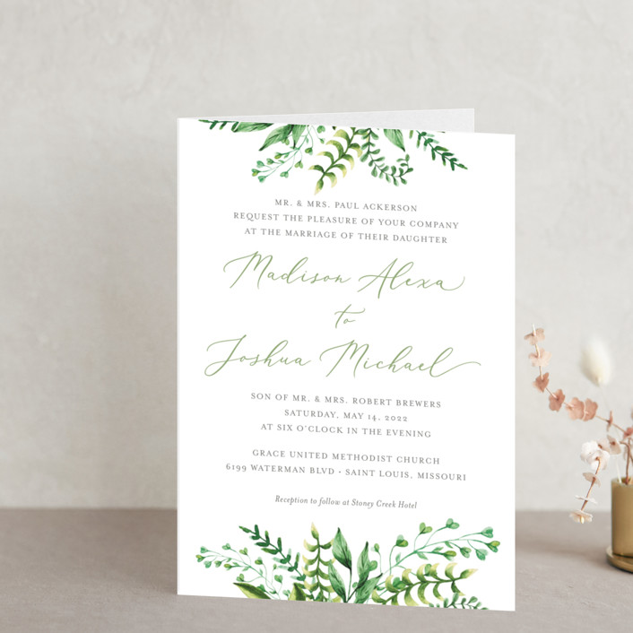 """""""Bright & Green"""" - Four-panel Wedding Invitations in Spring by Amanda Day."""