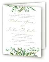 This is a green four panel wedding invitation by Amanda Day called Bright & Green with standard printing on signature in four-panel.