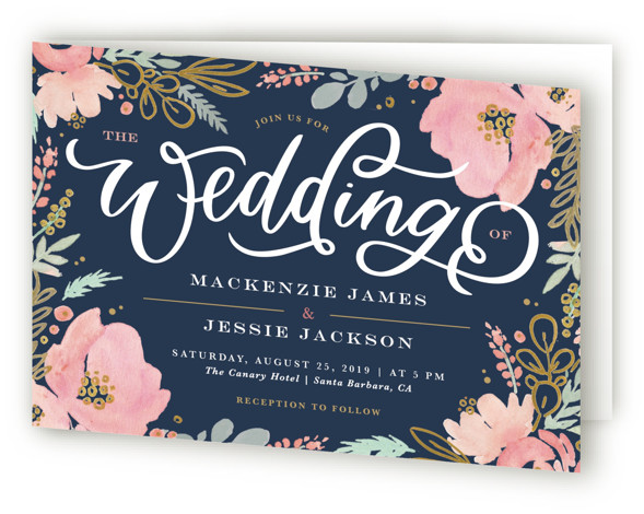 This is a landscape botanical, floral, rustic, blue, colorful, pink Savvy Wedding Invitations by Kristen Smith called Floral Vignette with Standard printing on Signature in Four Panel Fold Over (Message Inside) format. This watercolor floral embellished save the date is ...