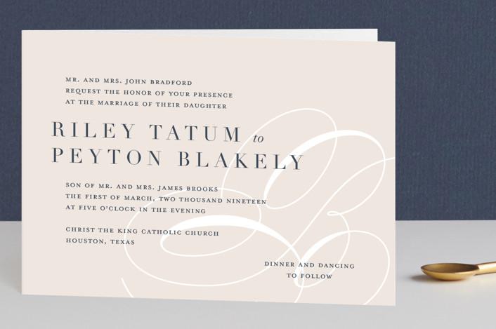 """Fresh Monogram"" - Bold typographic, Monogram Four-panel Wedding Invitations in Latte by Lauren Chism."