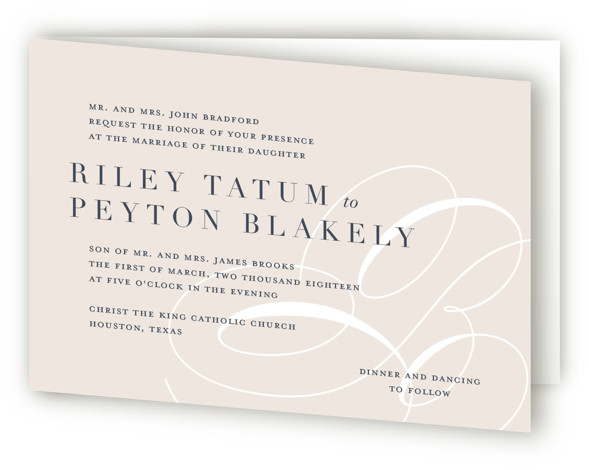 This is a landscape bold and typographic, bold typographic, classical, elegant, formal, modern, monogram, beige Savvy Wedding Invitations by Lauren Chism called Fresh Monogram with Standard printing on Signature in Four Panel Fold Over (Message Inside) format. Elegant mongogram paired ...