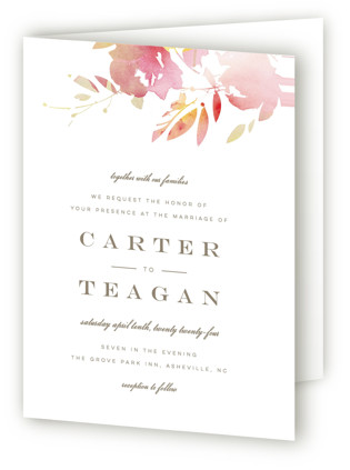 Stately Florals Four-Panel Wedding Invitations
