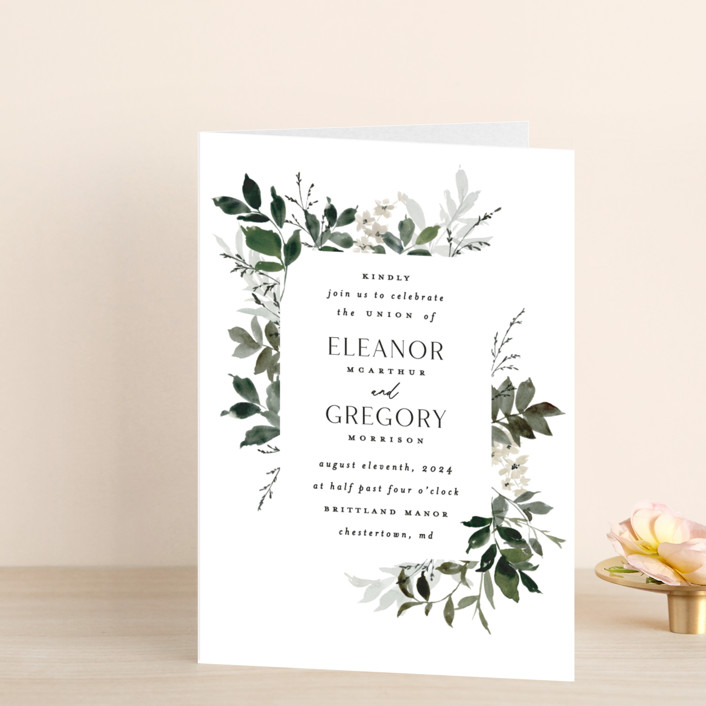 """""""Grove"""" - Four-panel Wedding Invitations in Meadow by Everett Paper Goods."""